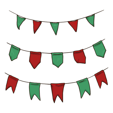 Vector Set of Hand Made Flags on the Rope. Christmas Colors Pennants. Green and Red Ornament.