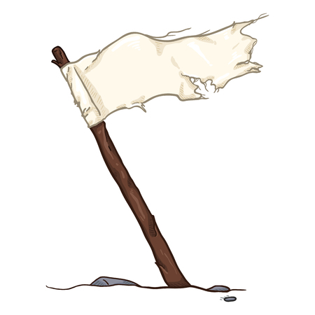 Vector Cartoon White Waving Old Tattered Flag Çizim