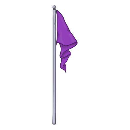 Vector Cartoon Purple Flag without Wind