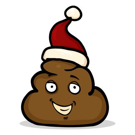 Vector Cartoon Shit Character in Red Santas Hat.