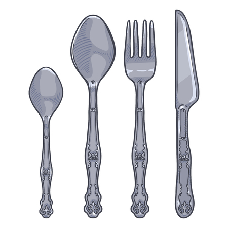 Vector Cartoon Set of Vintage Silver Cutlery. Knife, Fork, Spoon, Tea-spoon