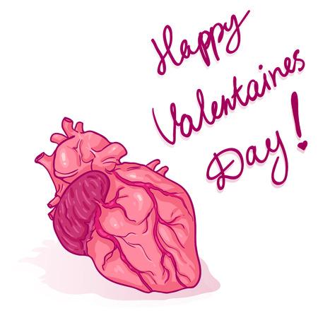 Vector Cartoon Greeting Card. Happy Valentines Day. Pink Anatomic Human Heart.