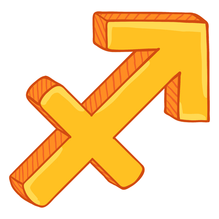 Vector Single Golden Cartoon Zodiac Sign - Sagittarius