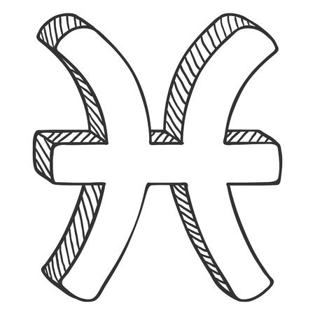Vector Single Sketch Zodiac Sign - Pisces Ilustração