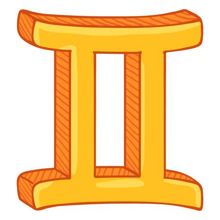 Vector Single Golden Cartoon Zodiac Sign - Gemini
