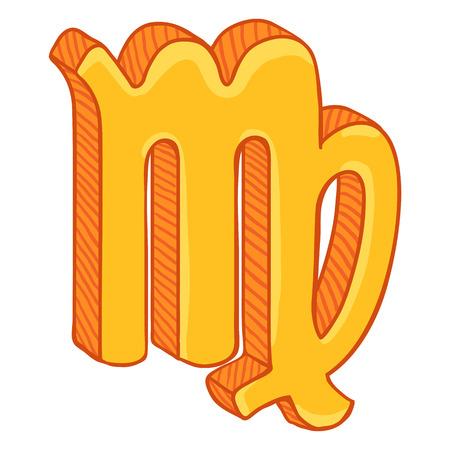 Vector Single Golden Cartoon Zodiac Sign - Virgo