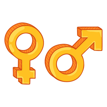Vector Cartoon Gender Symbols. Male and Female. Golden Mars and Venus Signs