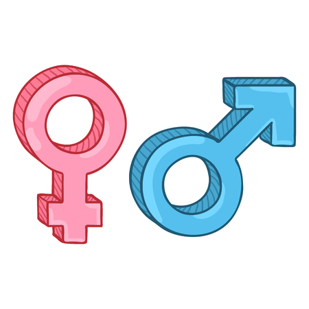 Vector Cartoon Gender Symbols. Blue Male and Pink Female Signs