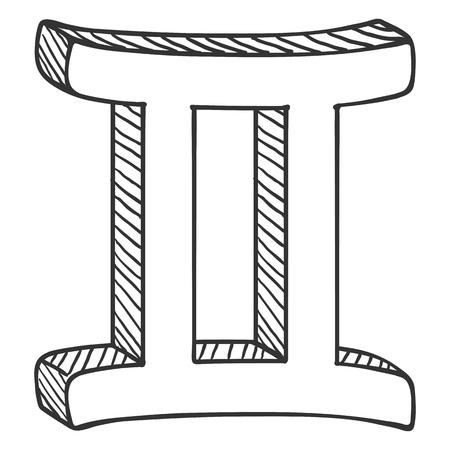 Vector Single Sketch Zodiac Sign - Gemini