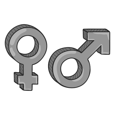 Vector Gray Cartoon Gender Symbols. Male and Female. Mars and Venus Signs