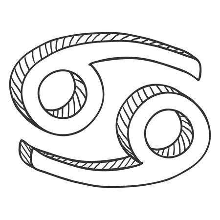 Vector Single Sketch Zodiac Sign - Cancer