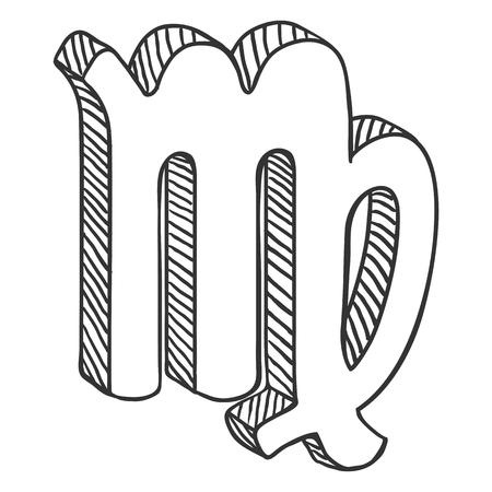 Vector Single Sketch Zodiac Sign - Virgo