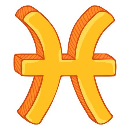 Vector Single Golden Cartoon Zodiac Sign - Pisces Ilustração