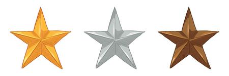 Ensemble vectoriel d'étoiles en métal de dessin animé - or, argent et bronze.