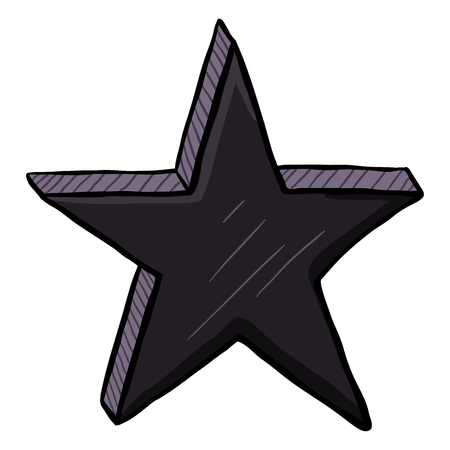 Vector Cartoon Black Color Star