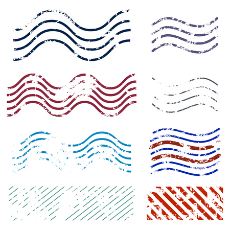 Vector Set of Color Abstract Postage Stamps. Waved and Striped Seal