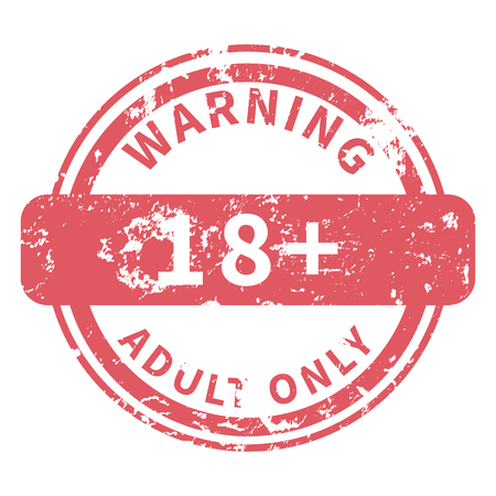 Vector Shabby Red Stamp - Warning, Adult only. Ilustrace
