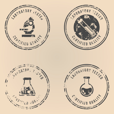 Vector Set of Black Stamps with Text - Laboratory Tested, Certified Quality.