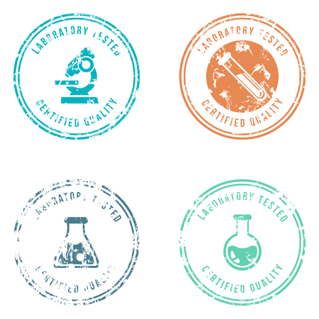 Vector Set of Color Stamps with Text - Laboratory Tested, Certified Quality. Illustration