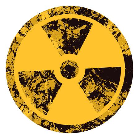Vector símbolo radiactivo lamentable. Icono de radiación amarilla Grunge