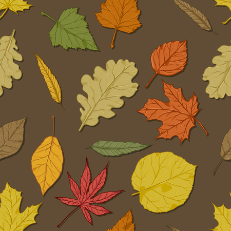 Vector Seamless Autumn Pattern with Leaves on Brown Background