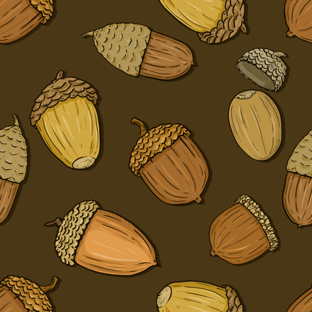 Vector Seamless Autumn Pattern with Acorns on Brown Background
