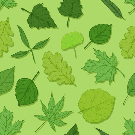 Vector Seamless Spring Pattern with Leaves on Green Background