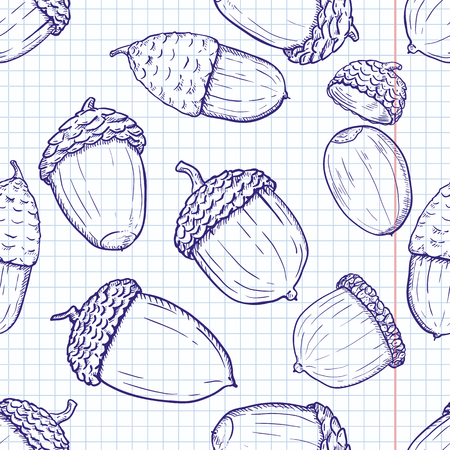 Vector Seamless Autumn Pattern with Sketch Acorns on Squared Background Иллюстрация