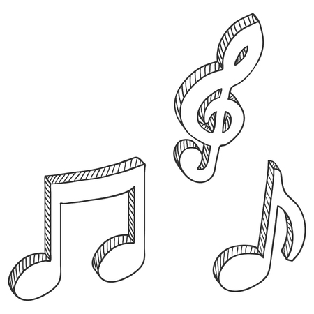 Vector Set of Sketch Symbols Musical Notes. Melody Icons. Ilustração