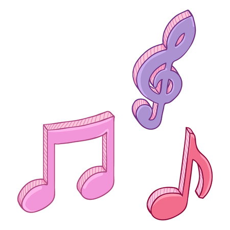 Vector Set of Cartoo Colorful Symbols Musical Notes. Melody Icons. Ilustração