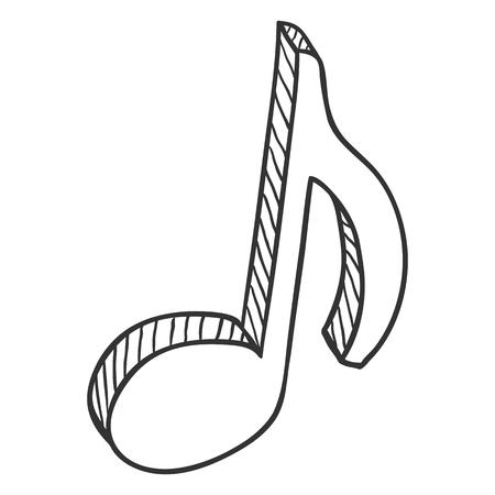 Vector Sketch Musical Eighth Note Icon Ilustração