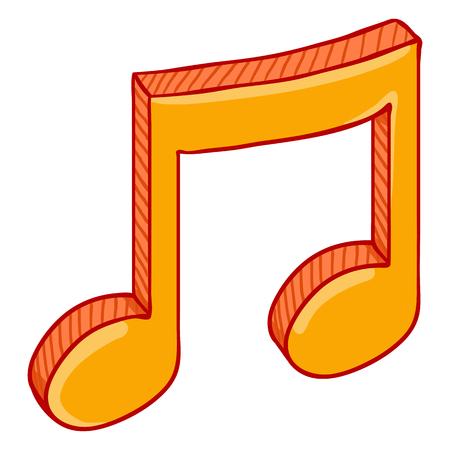 Vector Single Cartoon Golden Musical Eighth Note Icon Illustration
