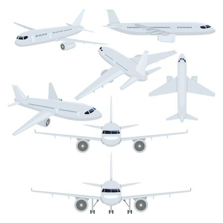 Vector Set of Flat Planes Illustrations. Civil Aviation. Illustration
