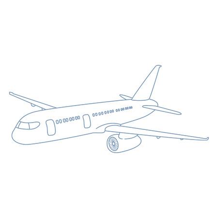 Vector Outline Plane Illustration. Side View Airplane Illustration