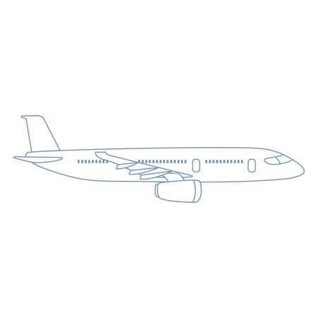 Vector Outline Plane Illustration. Side View Airplane 向量圖像