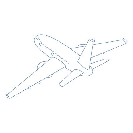 Vector Outline Plane Illustration. Perspective Back View.