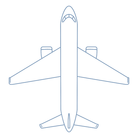 Vector Outline Plane Illustration. Top View Airplane Illustration