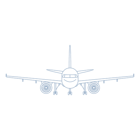 Vector Outline Plane with Chassis Illustration. Front View Airplane