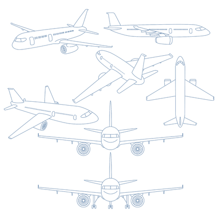 Vector Set of Blue Outline Airplanes Illustration. Contour Drawing Planes.