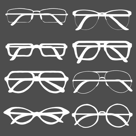 Vector Set of White Glasses Rims Silhouettes on Black Background