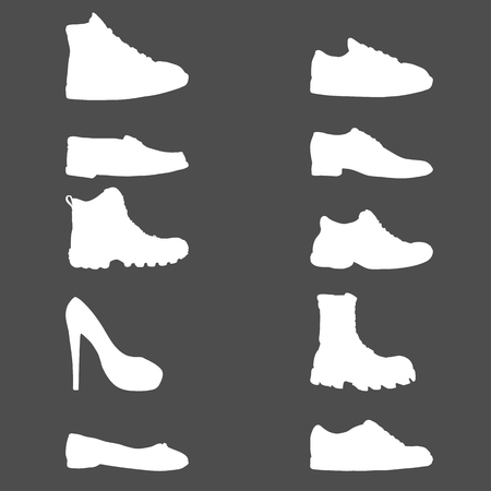 Vector Set of White Silhouette Shoes