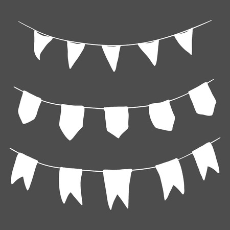 Vector Set of White Silhouette Flags on the Rope