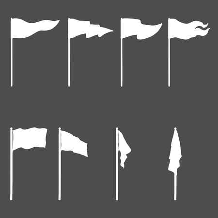 Vector Set of WhiteSilhouettes Flags