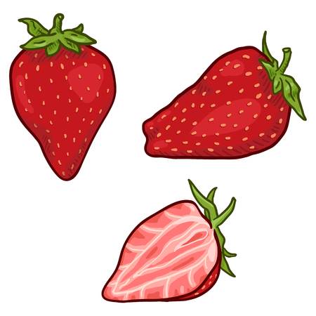 Vector Set of Cartoon Strawberry