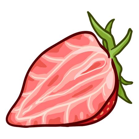 Vector Cartoon Half Cut Strawberry