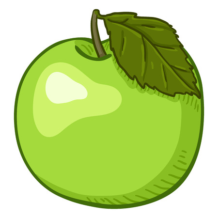 Vector Cartoon Green Apple with Leaf