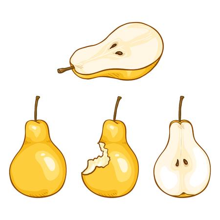Vector Set of Cartoon Yellow Pear Illustrations Illustration