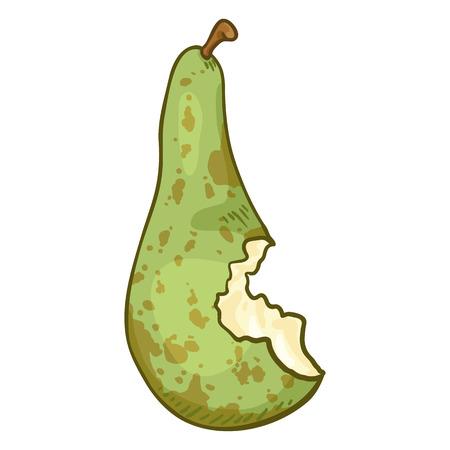 Vector Cartoon Bitten Green Pear Illustration
