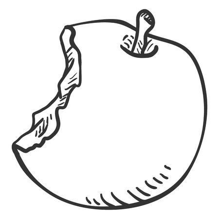 Vector Sketch Bitten Apple