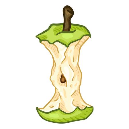 Vector Cartoon Green Apple Core Vektorové ilustrace